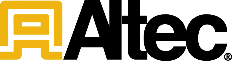 a geometric yellow a next to the word altec in black text