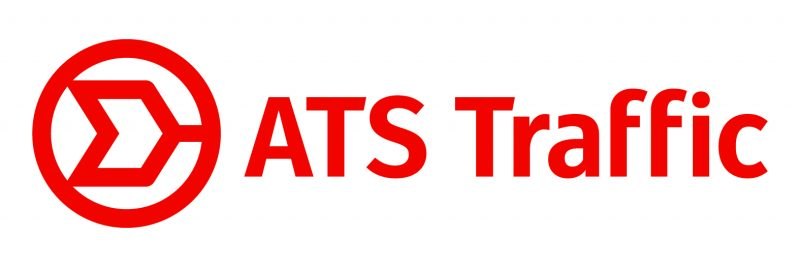 the end of an arrow in a circle, the words ats traffic, everything red