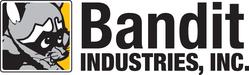 bandit industries in black text next to a cartoon raccoon