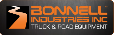grey rectangle, bonnell industries in orange block text in the center