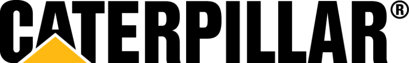 caterpillar in thick black text, below the first a is a mustard triangle integrated with the font