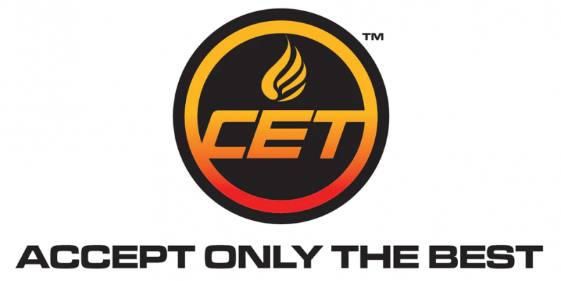 black circle with an orange flame and letters CET in the center