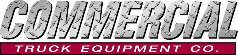 commercial in italicized grey font, below burgundy line with the text truck equipment company in white