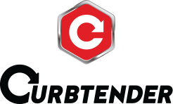 a red hexagon outlined in grey steel-look with a c shape in the center, the word curbtender in black is below