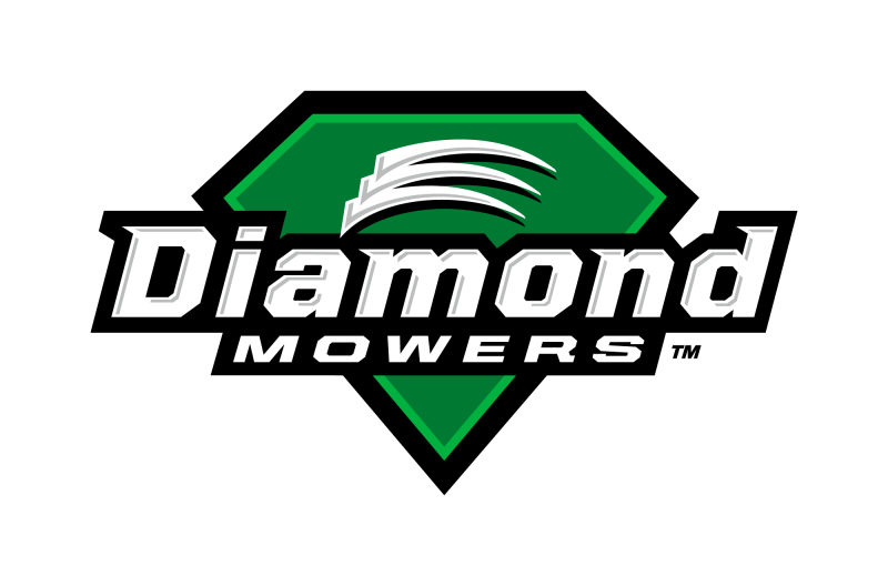 a green diamond in the background, white text reads diamond mowers in the foreground