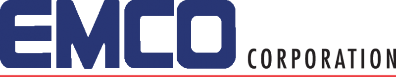 emco in all caps in blue text, corporation in small subscript grey font next to it