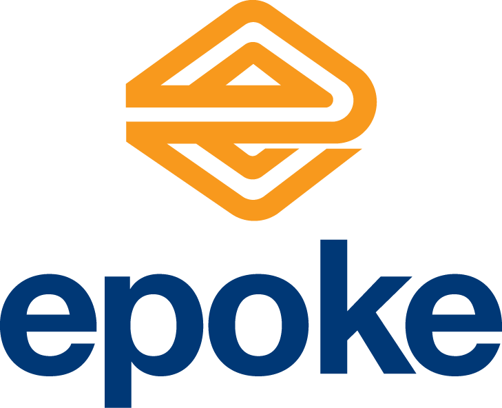 epoke in blue text with an orange triangle in the shape of an e centered above the text