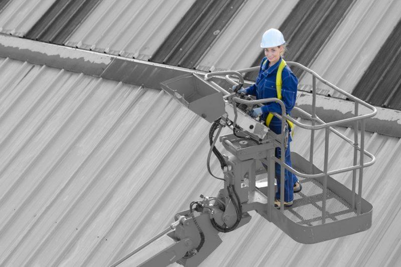 Worker on an aerial platform