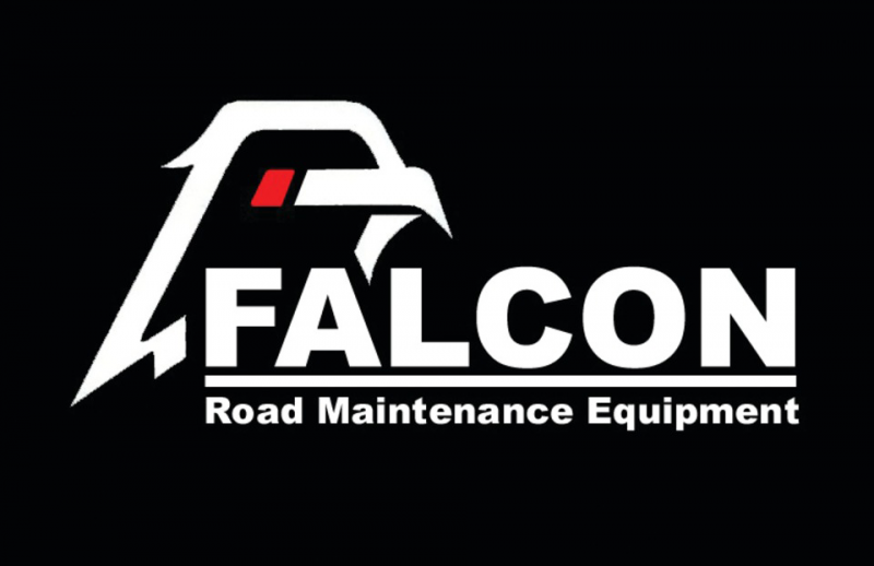 a large falcon illustration looms over the word falcon in white text on a black background, road maintenance equipment is in smaller white text below
