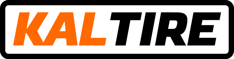 kal in orange text, tire in black text, in the centre of a black rectangle outline