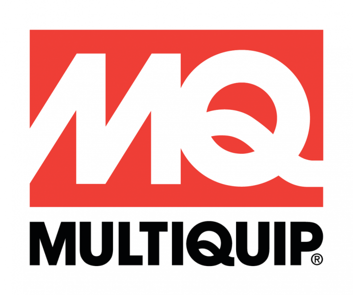 red rectangle with the letters m and q in white in the centre, the word multiquip in black text is below