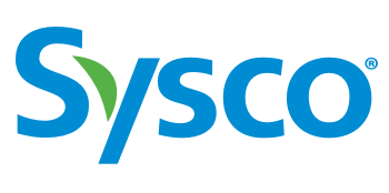 green and blue text that reads sysco