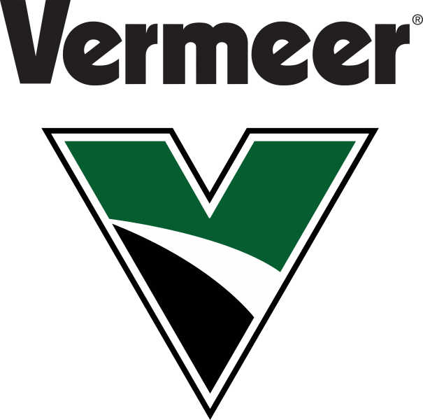 vermeer in black text over a large green, white, and black v