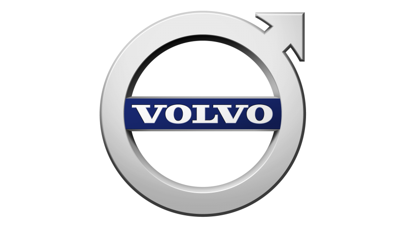 the male symbol in a silver grey, inside the circle is a blue line with the word volvo in white text written over it
