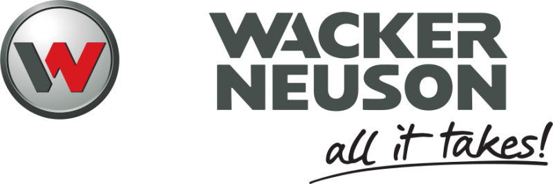 wacker neuson in grey stacked text next to a grey circle with a red w in the center